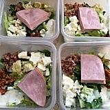 Sliced ham and feta salad