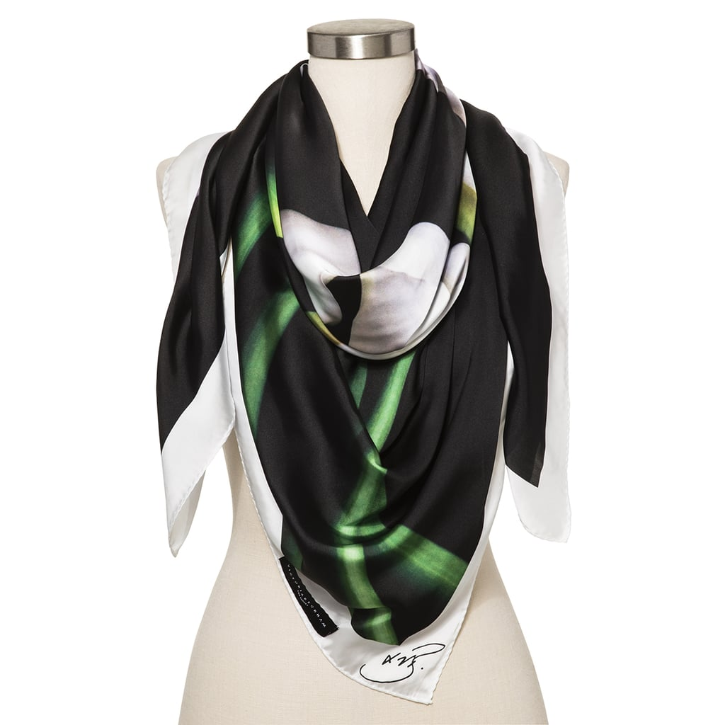 Calla Lily Black Scarf with White Trim ($20)