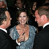 Prince William with Tom Hanks and Rita Wilson at BAFTA Brits to Watch dinner.