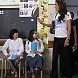 Queen Rania gave her UNICEF a fashion-forward twist with the help of flared jeans and heels.