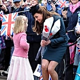 Before Kate Middleton embarked on the Diamond Jubilee tour in March 2012, she chatted with wellwishers — including this cute little girl — outside Leicester Cathedral in England.