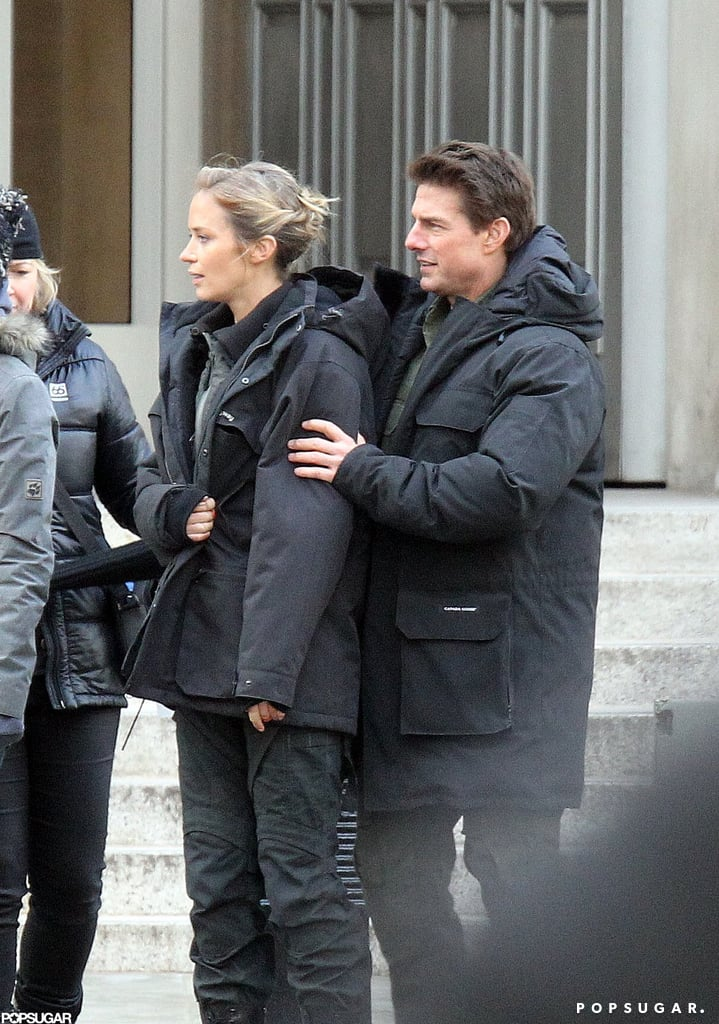 Tom Cruise and Emily Blunt wore black jackets in London.