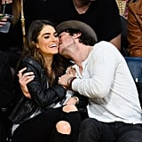 Ian gave Nikki a kiss during a basketball game in December 2014.