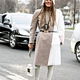 While this look is toned-down for Anna Dello Russo, a few OTT accessories added a personal twist.