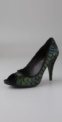 Michelle Peep Toe Pumps with Feathers - Pedro Garcia