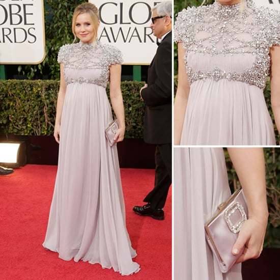 Pregnant Kristen Bell in Jenny Packham at 2013 Golden Globes