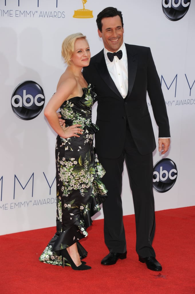 Mad Men costars Jon Hamm and and Elizabeth Moss posed together.