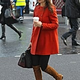 Pippa went for a more neutral shade while running errands in London in 2012.