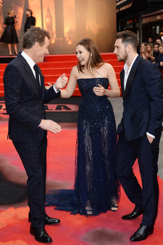 Elizabeth Olsen goofed around with Bryan Cranston and Aaron Taylor-Johnson at Godzilla's European premiere on Sunday in London.