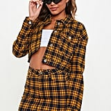 Missguided Yellow Checked Cropped Denim Jacket
