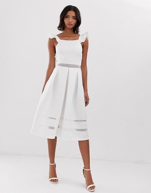 3eda5009557 Asos Lace Insert Ruffle Back Midi Dress