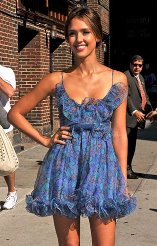 Pictures of Jessica Alba in Blue Accordion Pleat Dress