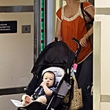 January Jones arrived at LAX Airport with Xander Jones.