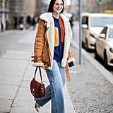 Opt For a Cozy Shearling Coat Over a Sweater