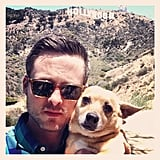 Damien Fahey took his dog for a walk near the Hollywood sign. Source: Instagram user damienfahey