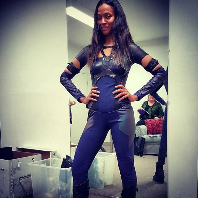 Zoe Saldana shared this pic of herself looking amazing in one of her old Guardians of the Galaxy costumes, proving that hard work pays off.