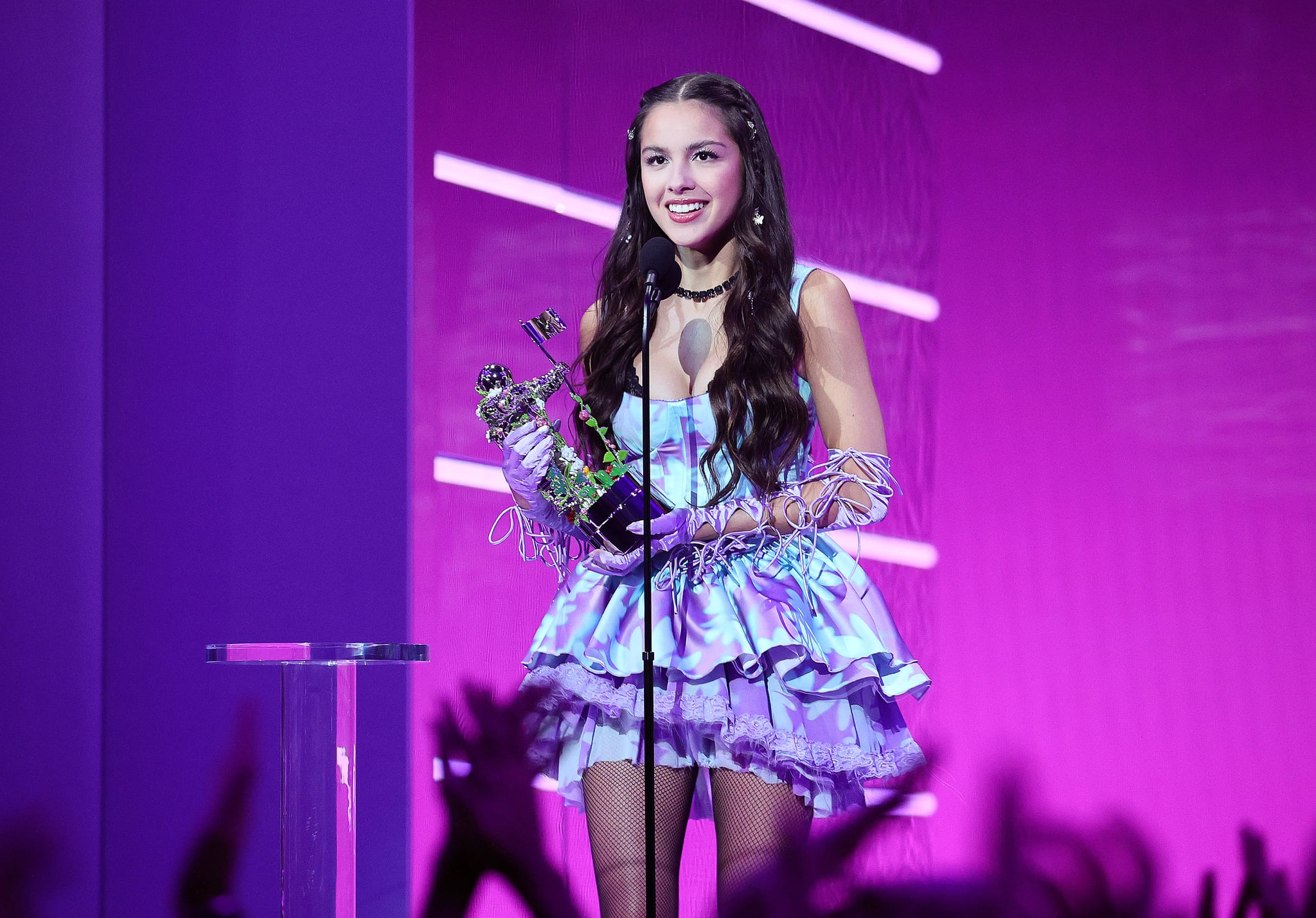 NEW YORK, NEW YORK - SEPTEMBER 12: Olivia Rodrigo accepts award for Song Of The Year onstage during the 2021 MTV Video Music Awards at Barclays Center on September 12, 2021 in the Brooklyn borough of New York City. (Photo by Theo Wargo/Getty Images for MTV/ViacomCBS)