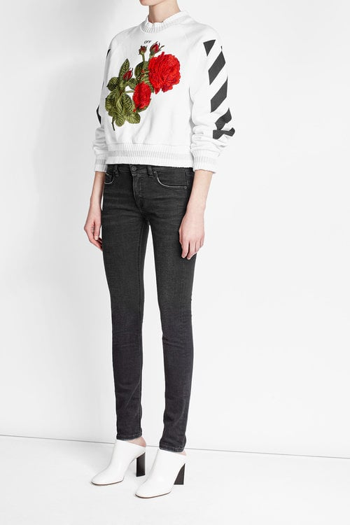 Off-White Embroidered and Printed Cropped Sweatshirt