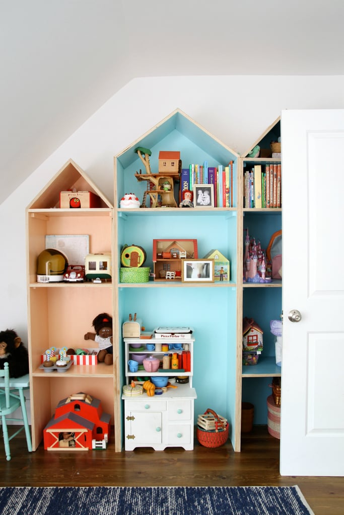 Colorful, custom toy shelves