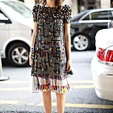 Street style had no shortage of sweet printed dresses this year, like this covet-worthy Chanel.
