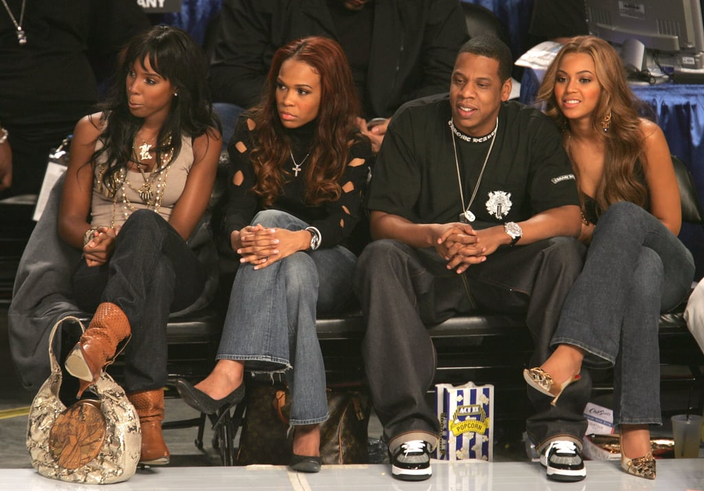 Jay-Z and Beyoncé attended the 2005 NBA All-Star Game with her Destiny's Child group members Kelly Rowland and Michelle Williams.