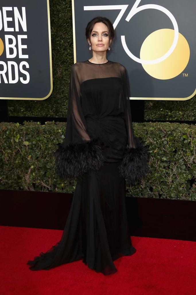 Angelina Jolie Wearing Black Dress at 2018 Golden Globes