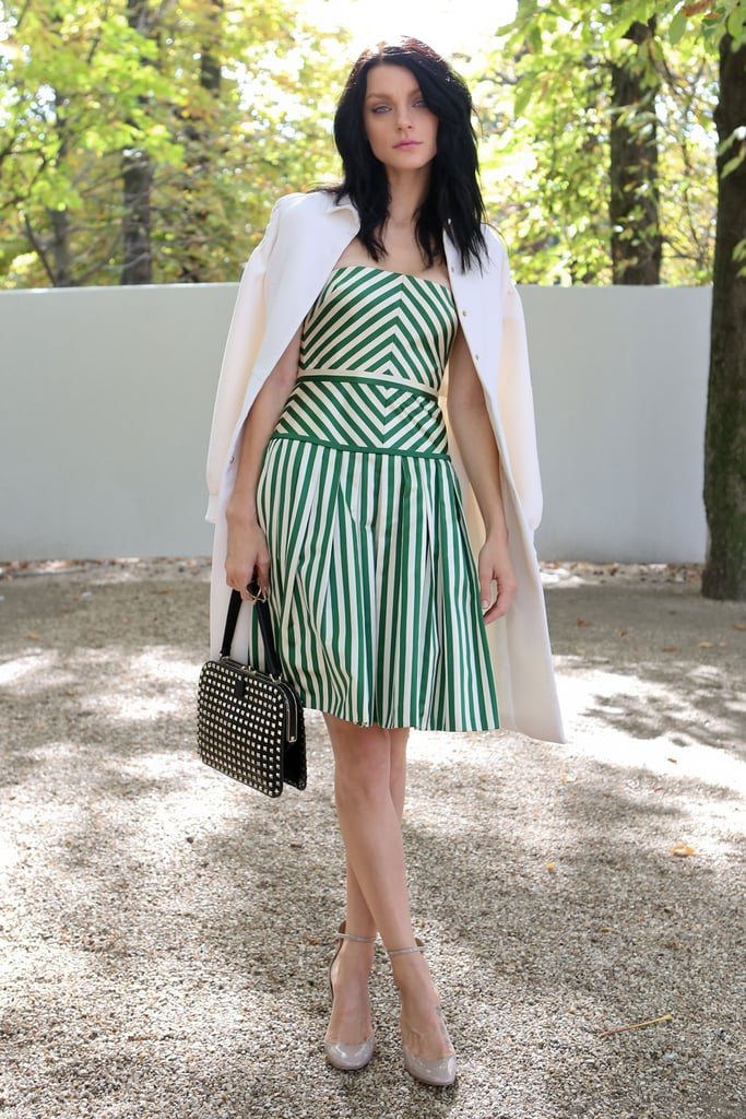 Jessica Stam took stripes to ladylike heights on a pretty fit-and-flare silhouette.