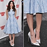 Emmy Rossum lent further shine to her icy blue Temperley London fit-and-flare dress via metallic silver pointy Rupert Sanderson pumps at the Lucky Guy Broadway opening night event in NYC.