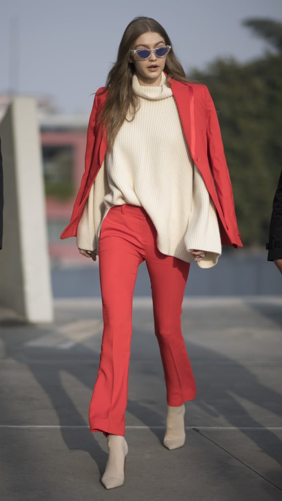 During Milan Fashion Week in Feb. 2017, Gigi debuted this red pantsuit set.