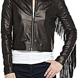 Bagatelle Fringe-Trim Leather Bomber Jacket