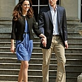 The day after their wedding in April 2011, Kate and Will were photographed holding hands as they left Buckingham Palace and headed to their honeymoon.