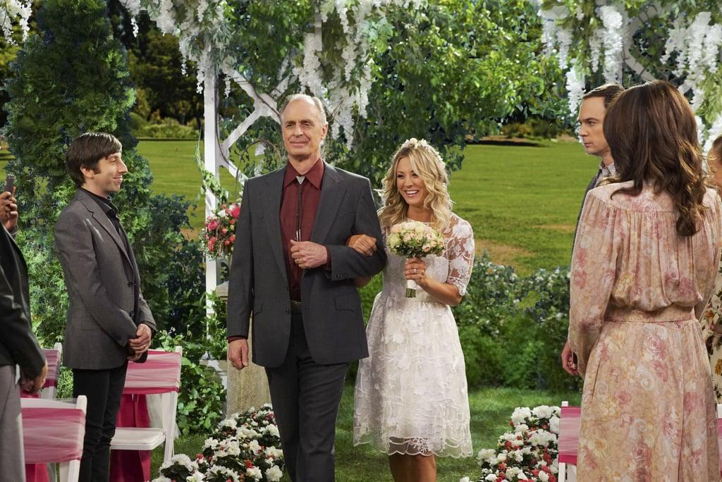 Howard Wolowitz (Simon Helberg), Wyatt (Keith Carradine), and Penny (Kaley Cuoco).