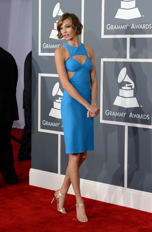 Karlie Kloss wore a blue Michael Kors dress for the Grammy Awards.