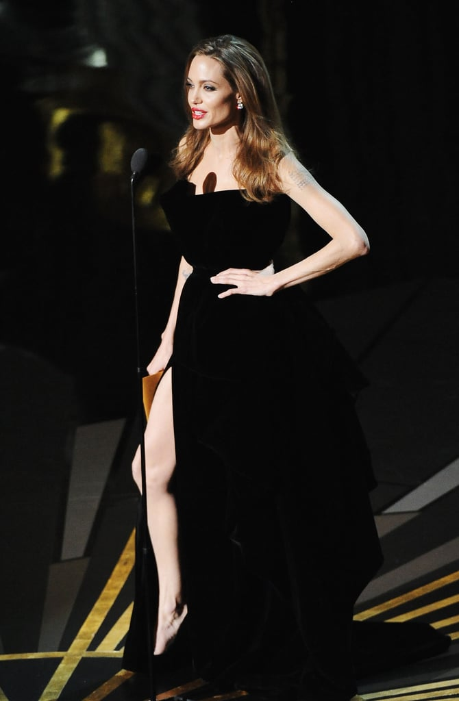 Angelina Jolie on stage at the Oscars.