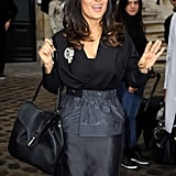 Salma Hayek arrived at the Balenciaga show at Paris Fashion Week.