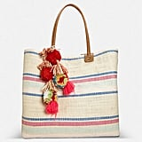 Avenue Mixed Stripe Pom-Pom Tote
