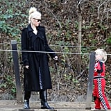 Gwen Stefani and Zuma took their dog on a trail.