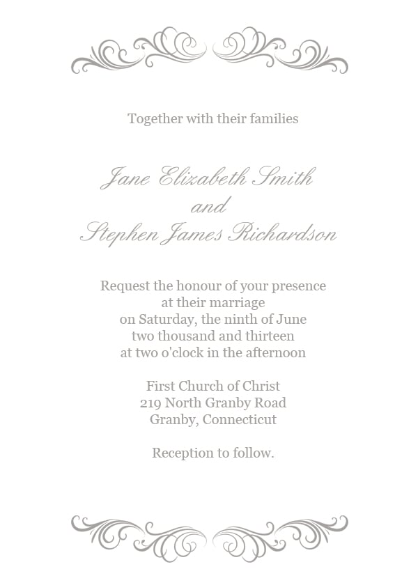 Silver Flourish Wedding Invitation