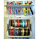 Prevent tangling by storing ribbon and string in a basket with holes.