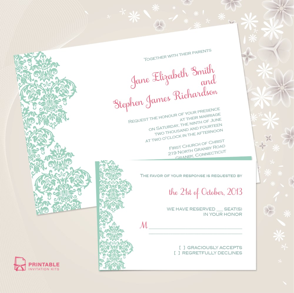 damask border wedding invitation 72 beautiful wedding invite