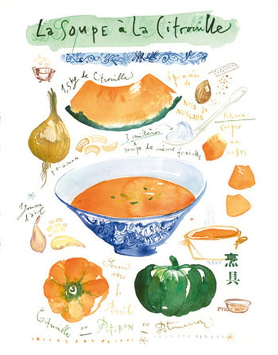 Pumpkins steal all the spotlight come Fall, and hey, we're not complaining. Case in point: this sweet pumpkin soup recipe print ($30).
