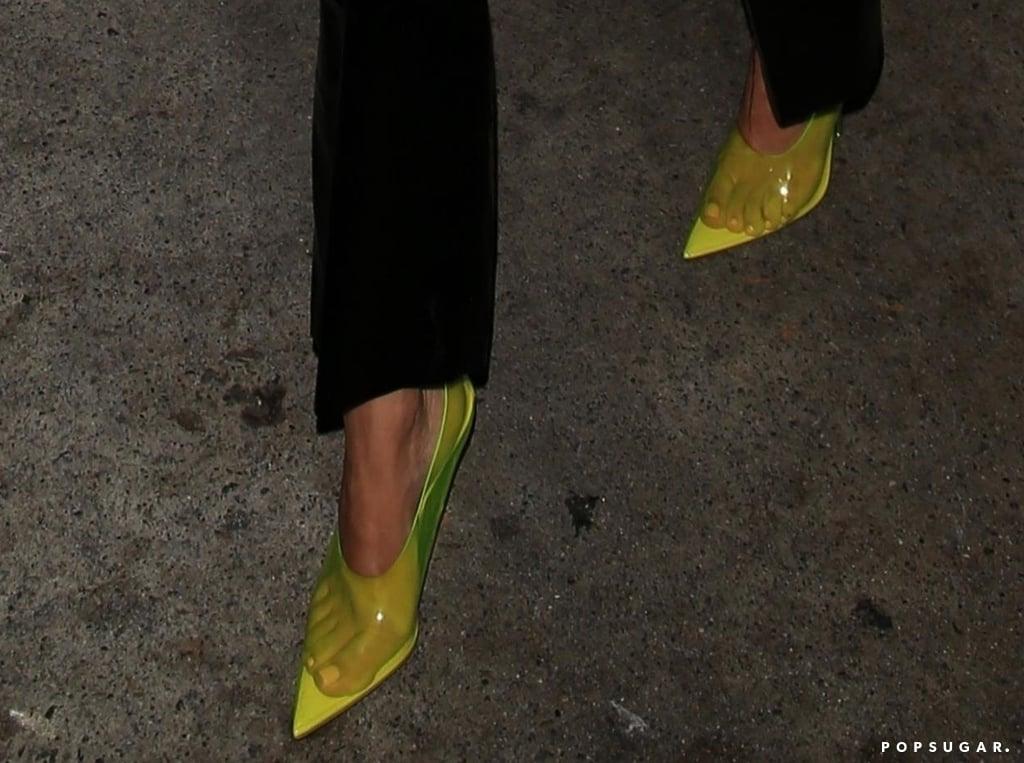 Kourtney Kardashian in Yellow Bra and Leather Pants 2018