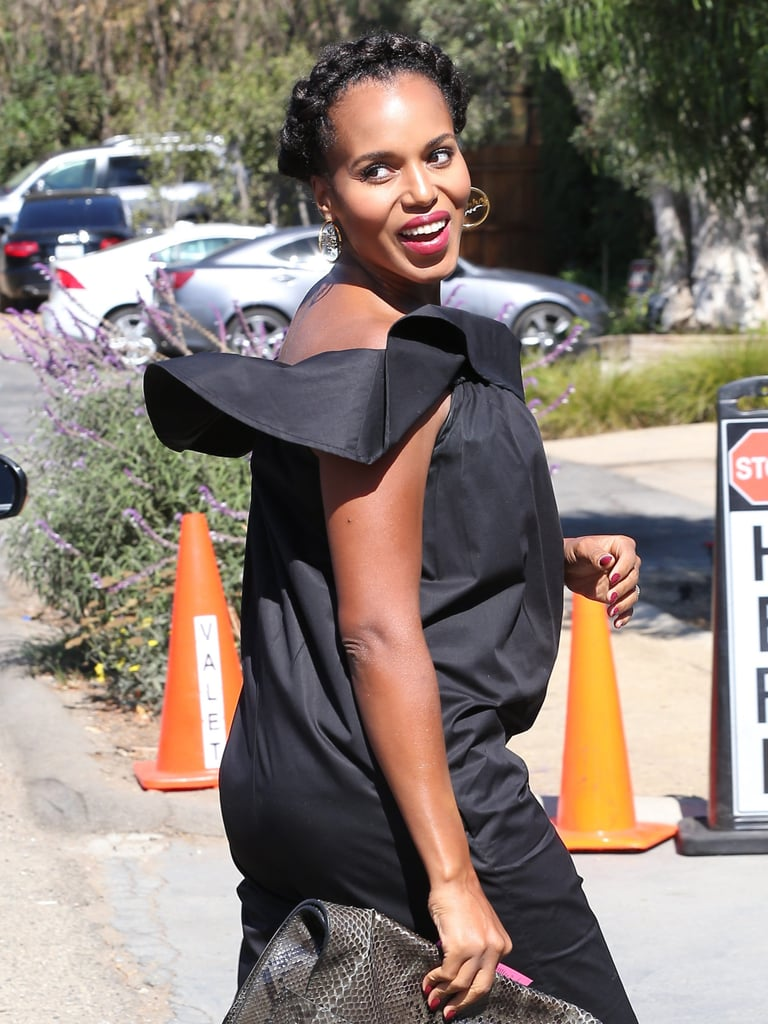 """It should come as no surprise that Kerry Washington looked absolutely radiant while attending producer Jennifer Klein's annual """"Day of Indulgence"""" party in Brentwood, CA, on Sunday. The always stylish Scandal star rocked an off-the-shoulder black jumpsuit from Hatch that perfectly showcased her baby bump while she headed into the event. Once inside, Kerry and fellow guests like Jennifer Lopez, Lea Michele, Elizabeth Olsen, and Amy Adams enjoyed spa treatments, delicious treats, and shopping. The actress and her husband, Nnamdi Asomugha, who are already parents to 2-year-old daughter Isabelle, announced Kerry's second pregnancy in early May, and the actress has been showing off her growing belly ever since."""