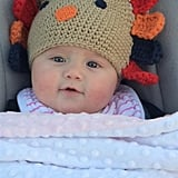 Kelly Clarkson dressed her baby daughter, River Rose Blackstock, in a turkey hat.