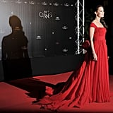 Bérénice Bejo looked glamorous in a long red gown at the opening night dinner for the Cannes Film Festival.