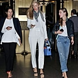 Joanna Hillman made a model-esque appearance in a white suit and a touch of print on her scarf.