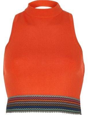 River Island Womens Orange high neck sleeveless crop top