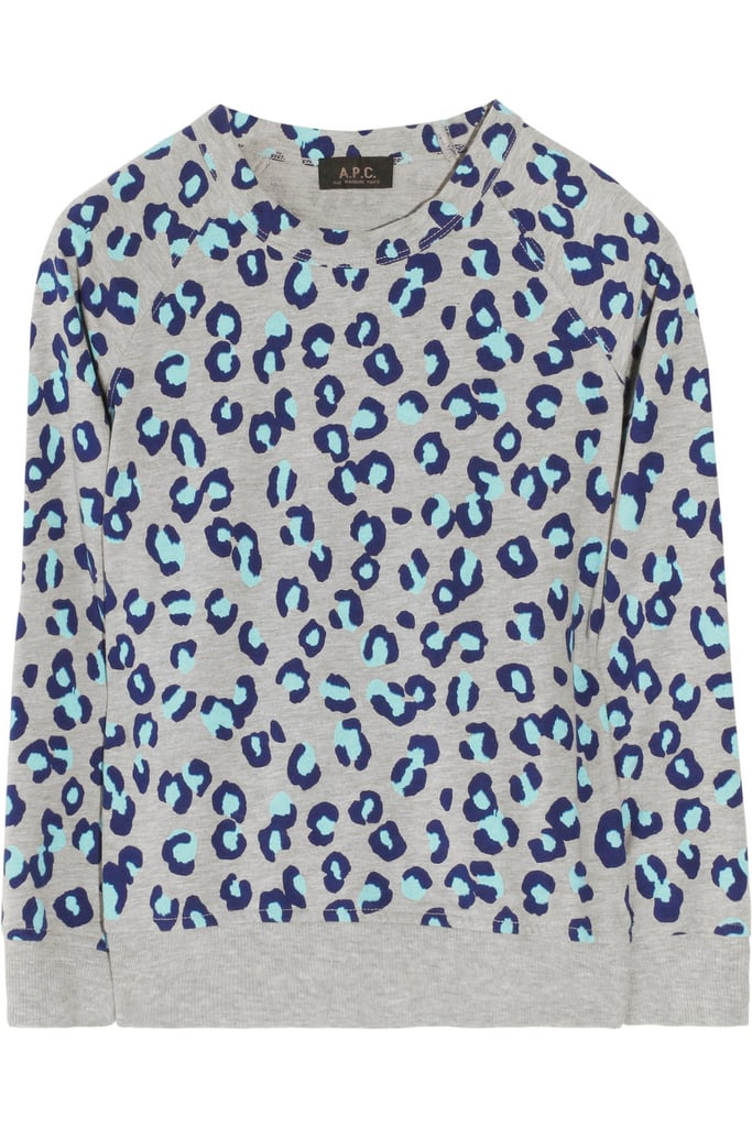 We love the fresh, color-injected play on leopard print. Just add this to any of your ankle-crop denim and loafers to channel preppy-with-a-twist.  A.P.C. Animal Print Cotton Sweatshirt ($135)