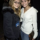 Mary-Kate Olsen and Ashley Olsen were casual backstage at the 2002 MTV Movie Awards.