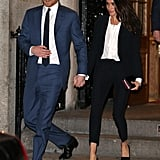 When he attended the Endeavour Fund Awards with Meghan Markle, Prince Harry wore yet another perfectly tailored blue suit. For the occasion, the Duchess of Sussex wore a black pantsuit by Alexander McQueen.